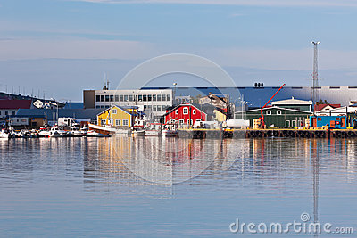 Typical Iceland Harbor with Fishing Boats