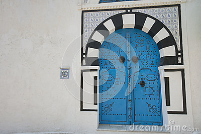Typical local door of traditional house, Tunis, Tunisia