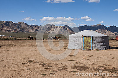 Nomadic yurt in the desert