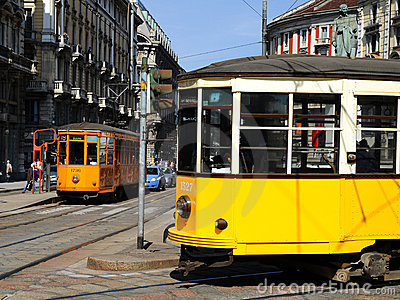 Typical old Milan trams Editorial Stock Photo