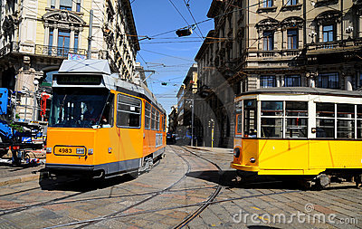 Typical old Milan trams Editorial Photography