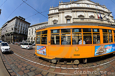 Typical old Milan trams Editorial Image