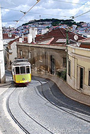 Typical old tram in a street of Lisbon. Portugal.