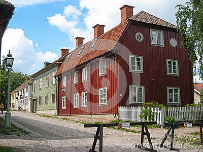 Typical old wooden houses. Linkoping. Sweden Editorial Photography