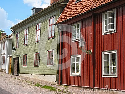 Typical old wooden houses. Linkoping. Sweden