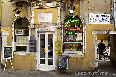Typical restaurant in Venice Editorial Stock Photo
