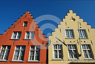 Typical roofs of houses in Bruges