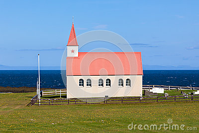 Typical Rural Icelandic Church at Sea Coastline