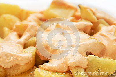 Typical spanish patatas bravas, spicy potatoes