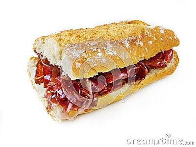 Typical spanish serrano ham sandwich