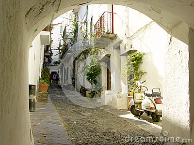Typical street in Cadaques,Spain