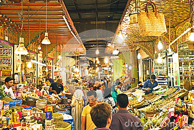 Typical street market in the old medina of Fes, Morocco, Africa Editorial Image