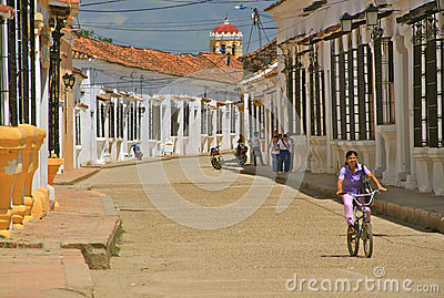 Typical Street of Mompos, Colombia Editorial Image