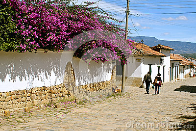 Typical Street of Villa de Leyva, Colombia Editorial Photography