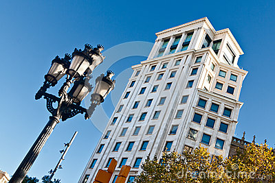 Typical Streetlamp and Tower in Barcelona