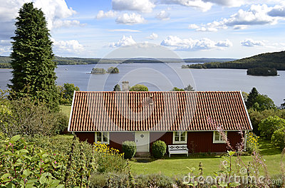 Typical Swedish house near the lake