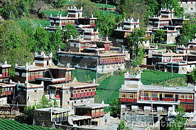 Typical tibetan buildings in Sichuan,China
