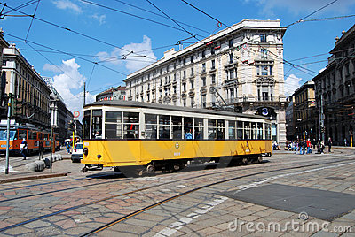 Typical tram (tramcar, trolley) in Milan square