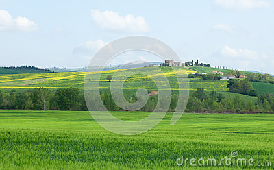 Typical Tuscany landscape with beautiful hills