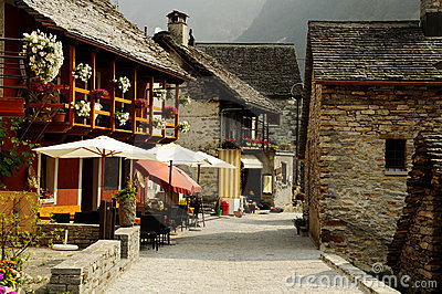 Typical village in the Swiss Alps