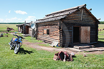 Typical wooden house in northern Mongolia