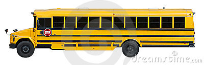 Typical Yellow School Bus Isolated on White