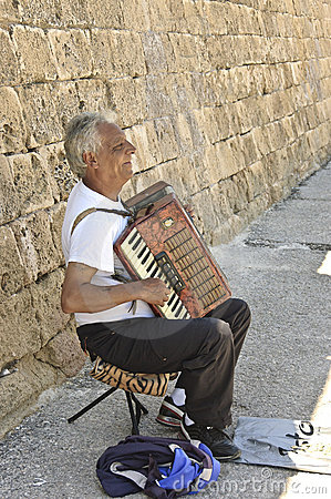 Typically poor Greek musician Editorial Image