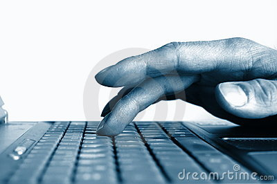 Typing hands on keyboard