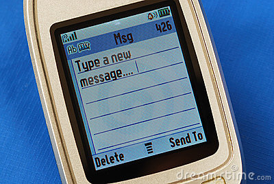 Typing a new SMS message in a cellular phone