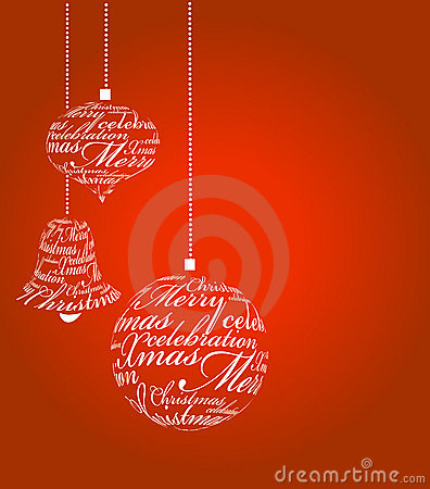 Typographic Xmas balls on the red background