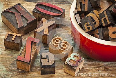 Typography concept with wood type