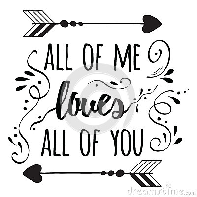 Typography Romantic Poster About Love Quote Cartoon Vector