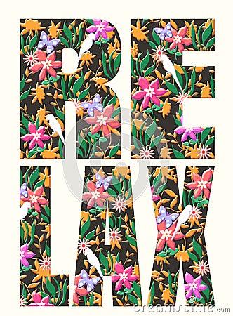 Typography slogan with flower illustration Stock Photo