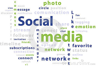 Typography word cloud tags of social media