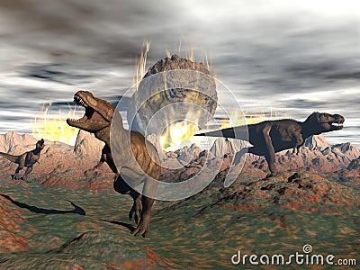 Tyrannosaurus Dinosaur Exctinction 3d Render Stock