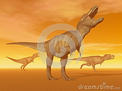 Tyrannosaurus dinosaurs in the desert - 3D render
