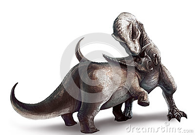 Tyrannosaurus is fighting Triceratops