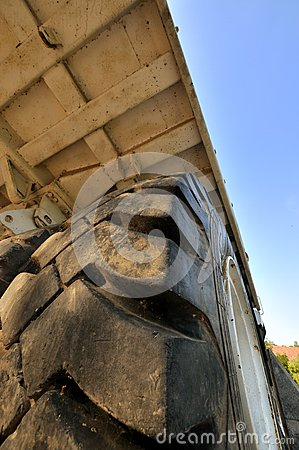 Tyre and body of big construction equipment