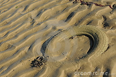 Tyre in sand