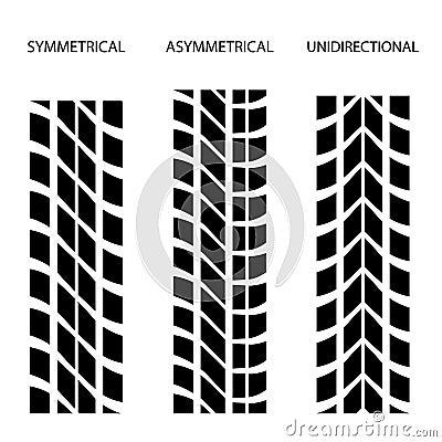 Tyre symmetrical asymmetrical unidirectional