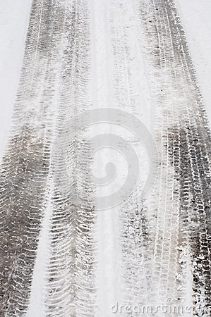 Tyre track in snow