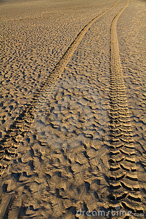Tyre tracks in wet sand