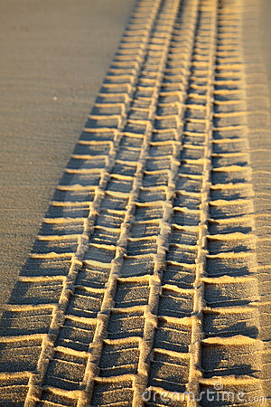 Tyre tread on a sand