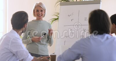 Uśmiechnięta, dojrzała pani trenerka przemawiająca do pracowników zbiory wideo