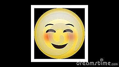 Uśmiechnięty emoticon z szczęśliwymi oczami i różowymi policzkami na zielonym tle ilustracja wektor