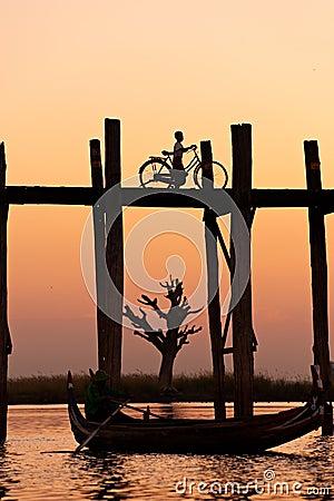 Free U Bein Bridge At Amarapura ,Mandalay, Myanmar. Royalty Free Stock Photos - 12292428