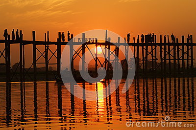 U bein bridge at sunset in Amarapura near Mandalay