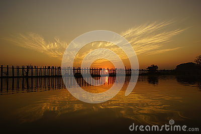 U bein bridge at sunset in Amarapura near Mandalay