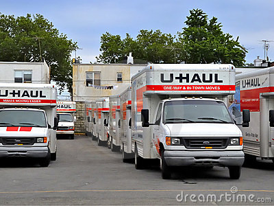 U-Haul trucks in Brooklyn depot ready for movers Editorial Photo