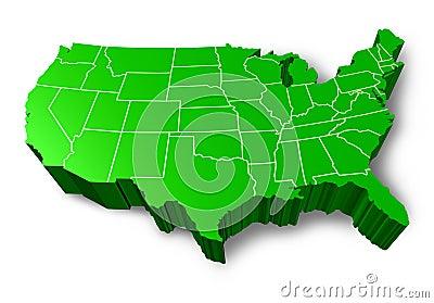 U.S.A 3D green map